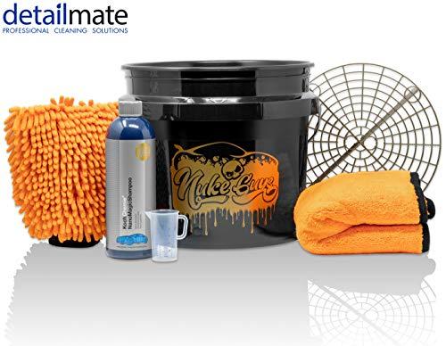 Detailmate Set Handwäsche: GritGuard Wascheimer 3,5 GAL (ca. 13L) + Grit Guard Einsatz + Liquid Elements Orange Baby Trockentuch + Koch Chemie NanoMagic Autoshampoo 750ml + Waschhandschuh + Messbecher Köche Starter