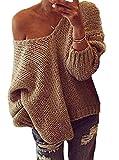 Damen Tief V Ausschnitt Reizvoll Pullover Herbst Frühling Langarm Pulli Loose Strickpullover Tunika Einfarbig Oberteile Tops