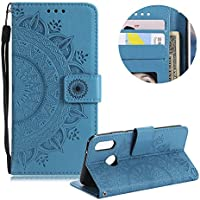 Blau Brieftasche für Huawei P20,Gurt Leder Handyhülle für Huawei P20,Moiky Ziemlich Jahrgang Mandala Blume Geprägt Klappbar Stoßdämpfende Stand Handytasche