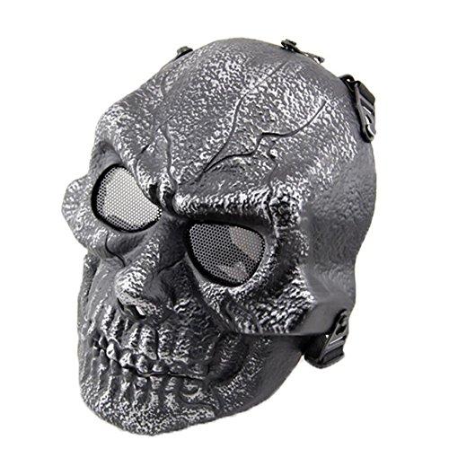 FengYun Sniper CS Feld Kampf Maske Vollgesicht Silber Schwarz Kostüm Maske für Airsoft BB Gun CS Spiel und Party