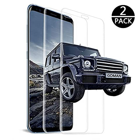 Galaxy S8 Screen Protector, GOMAN [2 PACK] Tempered Glass Screen