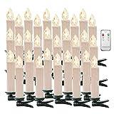 Weihnachtskerzen Kerzenlichter Weinachten LED Kerzen Fernbedienung Kabellos für Weihnachtsbaum Weihnachtsdeko Hochzeit Geburtstags Party (White, Warmweiß-30er)