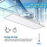 Albrillo LED Panel Deckenleuchte 120x30cm - 3240lm Spuerhelle, Tageslichtweiß 6500K inkl. einstellbare Seilaufhängung und Trafo, Ultraslim 36W Deckenpanel für Büro, Küche, Badezimmer, Weiß, Rechteckig