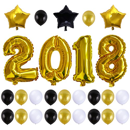YeahiBaby Oro número 2018 globos grande 40 pulgadas globos de papel de aluminio con globos de estrellas para graduación de graduación