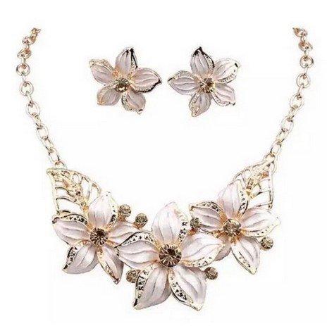 MEILI-collana marea vestito di moda dolce del gocciolamento diamante fiore collana maglione catena a catena clavicola , white
