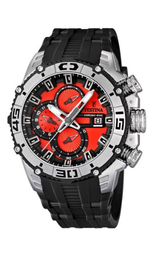 Festina Chrono Bike 2012 Men's Quartz Watch with Red Dial Chronograph Display and Black Rubber Strap F16600/7