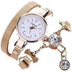Sunnywill Mode aus Kunstleder Strass Analog Quarz Kleid Armbanduhren für Frauen Mädchen Damen