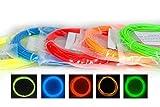 AngeliteCare® - 3D Stift oder Drucker Filament - 1.75mm PLA (Glühen im Dunkeln - 5 Farbiges Stück - 50 Meter/165 Fuß)