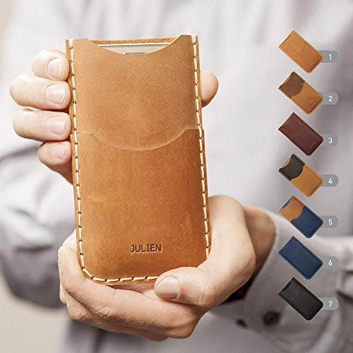 Leder Hülle für iPhone XS Max XR X 8 7 plus 6 6s + 5 5s 5c SE Etui Tasche Cover Case personalisiert durch Prägung mit ihrem Namen, Handyschale