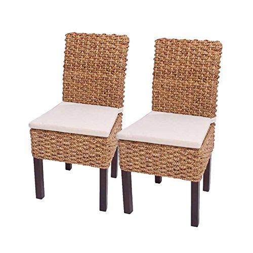 Mendler 2X Esszimmerstuhl Korbstuhl M43, Stuhl, Wasserhyazinthe ~ mit Sitzkissen