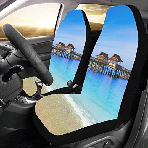 Florida Us Beach Ocean Landschaft Benutzerdefinierte Universal Auto Drive Autositzbezüge Protector Für Frauen Automobil Jeep LKW SUV Fahrzeug Full Set Zubehör Für Erwachsene Baby (Set Von 2 Front) -