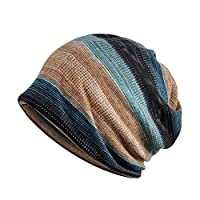 Aesy Womens Cotton Summer/Winter Chemo Hat Beanie Scarf for Cycling Running- Breathable Lightweight Turban Slouchy Hat Cap Beanie Cap Bandana for Cancer Gift (Camel #B)