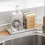 Timpou Porte-éponge en acier inoxydable 304, multifonctionnel pour évier de cuisine, organisateur d'évier, plateau égouttoir