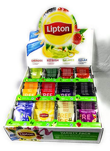 Lipton Variety Presentation Box 180 Enveloped Tea Bags 12 Flavours. Green,Black,Infusions Teas. Perfect for Hotels,B&B,Self-Serve Breakfast Bars,Offices,Canteens, and Restaurants