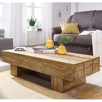 FineBuy Couchtisch Massiv-Holz Akazie 120 cm breit Wohnzimmer-Tisch Design  dunkel-braun Landhaus-Stil Beistelltisch Natur-Produkt Wohnzimmermöbel ...