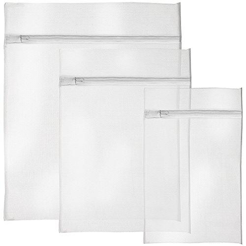 3 Stück Netz-gepäck-set (igadgitz Home Wäschenetz Reißverschluss Wäschesäcke Mesh Wäschetasche Waschmaschine Wäschebeutel - 3 Stück, Weiß (1x Klein, 1x Medium & 1x Groß))