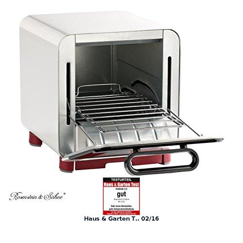 Rosenstein & Söhne Kompakter Klein-Backofen für belegten Toast u.v.m., 1.000 Watt, 8 l