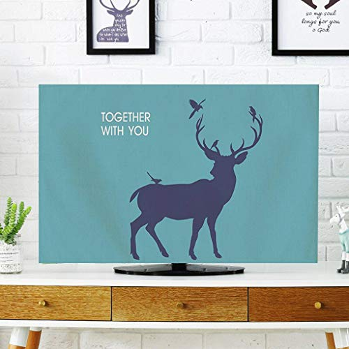 Monitor Hülle, Nordic gekrümmte Oberfläche TV-Abdeckung Stoffabdeckung Staubschutztuch LCD-Set Maschine hängenden Tuch, Leinen-32Zoll-D