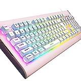 OJA Multicolor LED-Hintergrundbeleuchtung Gaming-Tastatur, Rainbow 7-Colors Sprachsteuerung Beleuchtet Wired Computer Tastatur Rot & Buntes Licht 104Tasten für PC Welt Laptop Rose Gold