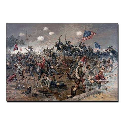 Battle of Spottsylvania by Thure de Thulstrup General Lee's Army fighting the U.S. Army in 1864 FRAMED CANVAS PRINT, Genuine Wood Internal Frame, Wall Art Decoration, High Quality Print, 3D Effect