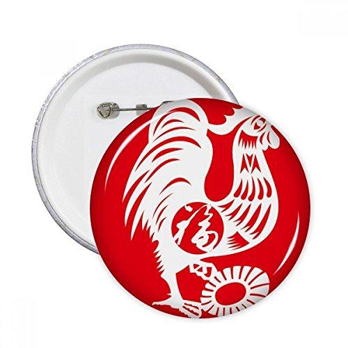 Jahr der Hahn Tier China Sternzeichen rund Pins Badge Button Kleidung Dekoration 5x Geschenk S mehrfarbig Hahn Patch