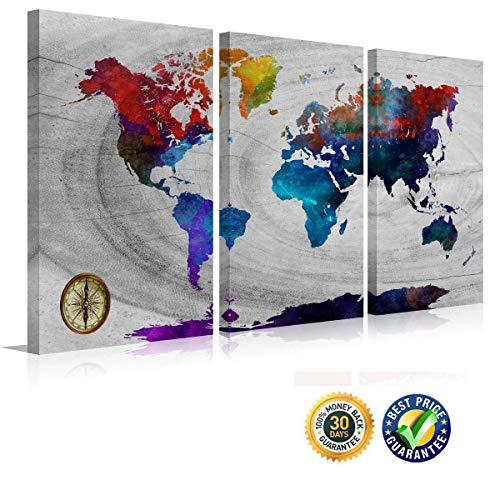 Multi-panel-rahmen (Watercolor Wand Karte Colorful Weltkarte Leinwanddruck Poster Modern Multi Panels Größe Artwork Karte der Welt Rahmen Vintage Landschaft Gemälde auf Leinwand Design Art)