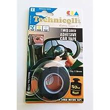 Technicqll Ruban adhésif Automobile double face 1,5m Largeur 19mm Noir pour plaques d'immatriculation, Badges, Accessoires