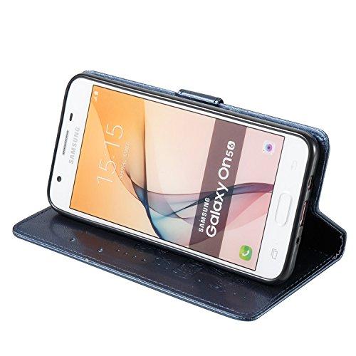 Für Samsung Galaxy J5 Prime Premium Leder Schutzhülle, weiche PU / TPU geprägte Textur Horizontale Flip Stand Case Cover mit Lanyard & Card Cash Holder ( Color : Purple ) Blue