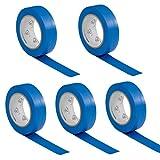 5 rouleaux VDE Ruban Isolant Électrique Bande Isolatrice PVC 15mm x 10 DIN EN 60454-3-1 couleur: bleu