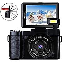 Camera Digital Camera Full HD 1080p 24.0MP Camcorder Video Camera 3.0 Inch Flip Screen Camera with Retractable Flashlight Vlogging Camera for YouTube