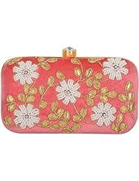 Tooba Handicraft Women's Clutch (Pink, Pink Pearl 5 Flower 7X4)