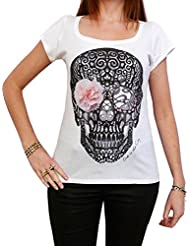 Flower Skull: T-shirt Femme imprimé tête de mort,Blanc, t shirt femme,cadeau