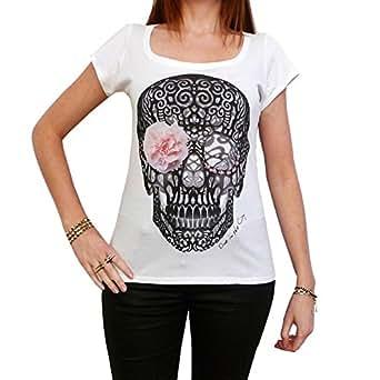 Flower Skull: t-shirt imprimŽ tte de mort ONE IN THE CITY (XS, Blanc)