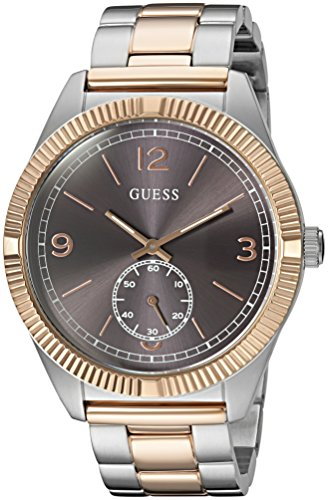 GUESS Men's U0872G2 Dressy Rose Gold-Tone Watch with Textured Grey Dial  and Stainless Steel Deployment Buckle