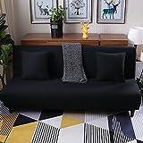 Lovehouse Hussen sofa-bett mit 3 kissen,Surefit sofa covers stretch, Schmutzabweisend rutschfest armlosen protector 3 sitze sofacouch für wohnzimmer -schwarz 59-77in