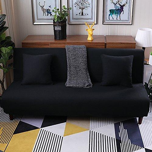 a-bett mit 3 kissen,Surefit sofa covers stretch, Schmutzabweisend rutschfest armlosen protector 3 sitze sofacouch für wohnzimmer -schwarz 59-77in (Baumwolle Gesteppte Kissen-abdeckungen)