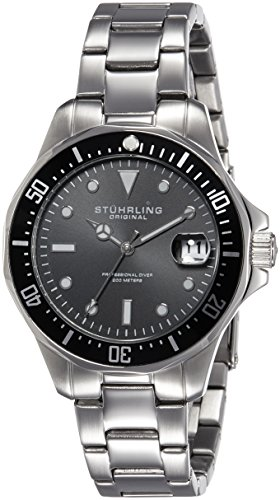 Stuhrling Original Man Aquadiver 664 Orologio da Polso, Display Analogico, Uomo, Cinturino in Acciaio Inossidabile, Argento