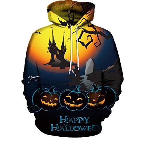 UFACE Paar Herbst/Winter Halloween 3D-Druck mit Kapuze Langarm-Pullover Casual Herbst Winter 3D Druck Halloween Hoodies Sweatshirt Bluse(C,5XL)
