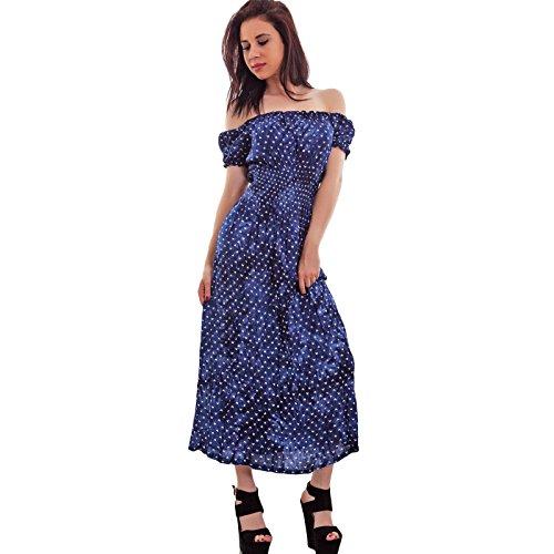 Toocool - Vestito donna abito longuette ginocchio cuori scollo carmen gitana nuovo 311 Blu scuro