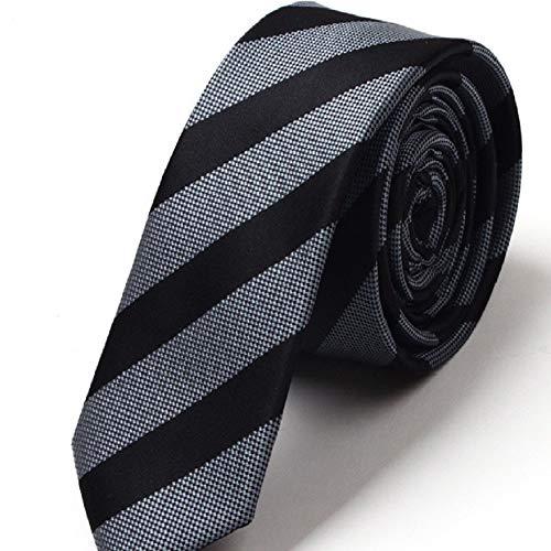 Fuxitoggo Herren Student Schmale Britische Streifen Krawatte für Uniform Anzug Hochzeit Büro Interview Krawatte (Farbe : Schwarz, Größe : S) - Britische Streifen-krawatte