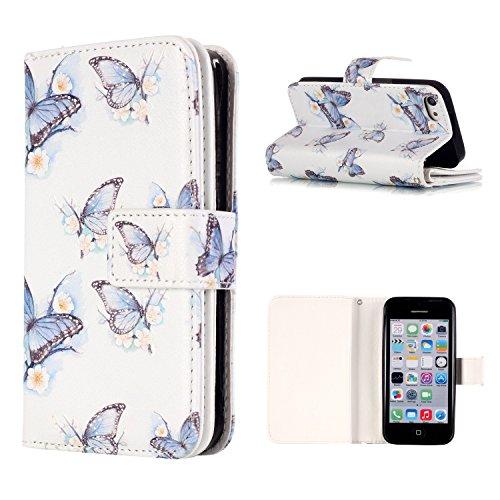 MOONCASE IPhone 5 / 5S / SE Coque,[Pug] Relief Multifonction Fentes de Cartes Housse en Cuir Etui à rabat Case avec Portefeuille Béquille Fermeture Magnétique pour iPhone 5 / 5S / iPhone SE Butterfly