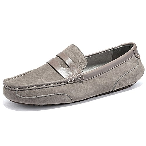 OZZEG  Fashion Leather Loafers, Moccasin garçon homme Gris