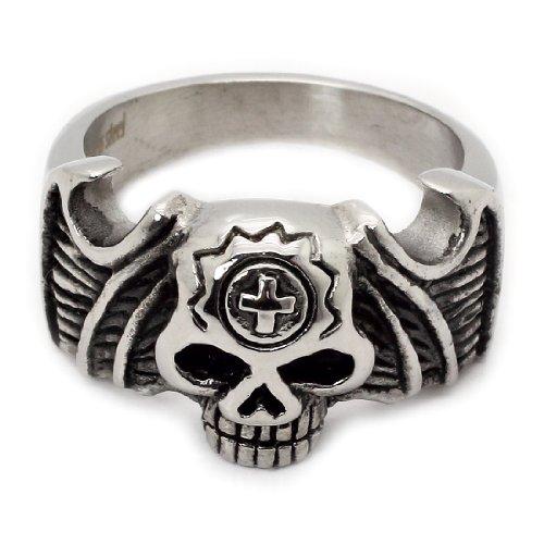 Elegante Winged Skull & Cross-Anello in acciaio INOX, misura: 13 (Garanzia a vita