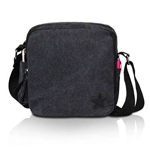 Glamexx24 Borsa a tracolla in stoffa borsa a mano e spalla con una bella stella Nero