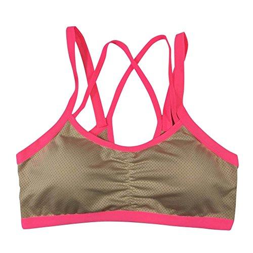 BOBORA Reggiseno sportivo Fitness elastica da allenamento, da donna, per Yoga-Canotta senza cuciture, con incrocio sulla schiena imbottita Beige