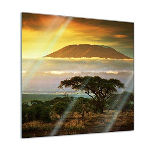 Glasbild - Kilimandscharo mit Savanne in Kenya - Afrika - 50x50 cm - Deko Glas - Wandbild aus Glas - Bild auf Glas - Moderne Glasbilder - Glasfoto - Echtglas - kein Acryl - Handmade