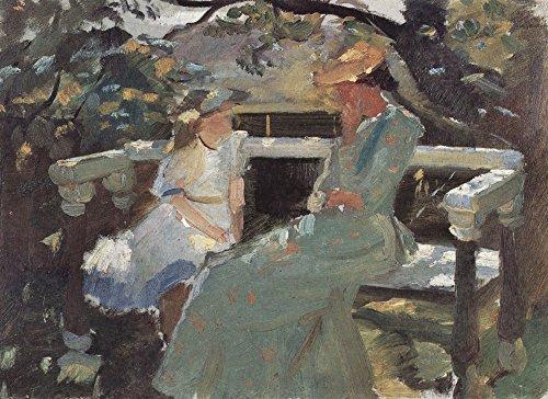 Das Museum Outlet–auf der Gartenbank, und Anna hekga Thorup von Anna Ancher–Leinwand (61x 81,3cm)