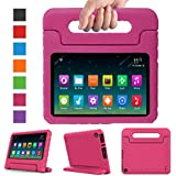 """Surom Case for All-New A m a z o n K i n d l e F i r e HD 8 2018/2017, Kids Shockproof Convertible Handle Light Weight Protective Stand Cover for F i r e HD 8"""" Display Tablet 2018/2017, Pink"""