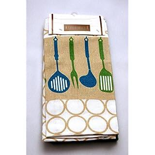 AeMBe - 3 Stück - 100% Baumwolle - Glanz-Geschirrtücher 40 x 60 cm - Grün / Blau / Beige