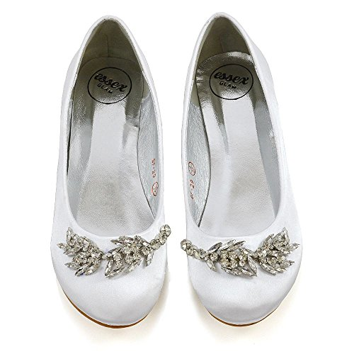 Essex Glam Femme Glissement Sur Chaussures De Mariée Dames Satin Diamant Broche Ballet Appartements Chaussures Blanc Satin